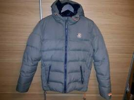 Superdry Men's Quilted Hooded Jacket - Grey / Navy Large