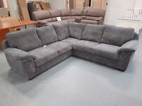 Brand New Grey Cord Corner Sofa. Free Delivery Up To 25 Miles. In Stock, Instant Delivery Available