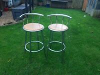 Two kitchen high breakfast bar chairs/stools