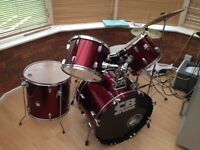 CB 5 piece red drum kit