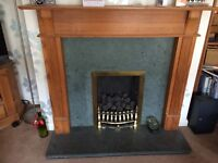 Fireplace either whole or in parts for sale , green slate, wood surround and gas fire