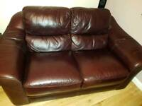 2 Italian Leather Sofas (1 with double recliner)