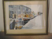 Wooden framed print of boats on union canal