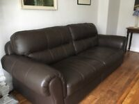 DARK BROWN 3-SEATER LEATHER SOFA