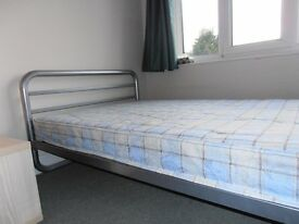 SMALL MATT-CHROME DOUBLE BED FOR SALE