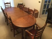 Dark Oak Dining Table 6 Chairs Dresser