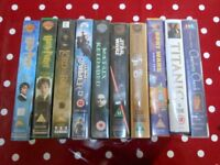 10 assorted VHS Video Films - Matrix, Harry Potter, StarWars, Lord of the Rings