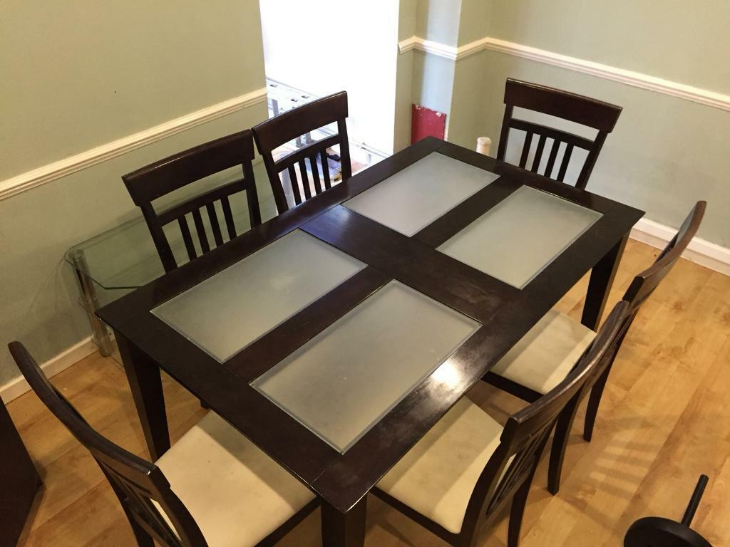 Wood Glass Dining Table with 6 Chairs