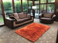 Immaculate Brown Suede 3 Seater Sofa + Swivel Chair Set Chrome Feet Reversible Jumbo Cord Cushions