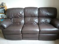 3 Seater Leather Sofa with kick outs