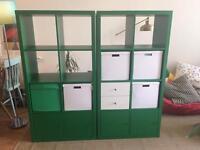 2 x green Ikea Kallax storage cube units