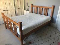 Solid wood King size bed frame and mattress for sale
