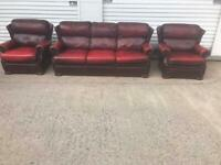 Saxon oxblood leather chesterfield sofa set FREE DELIVERY LOCAL