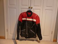 TT Leathers Biker Jacket - 100% leather, red nylon lining, chest size 40 inches. Striking and in VGC