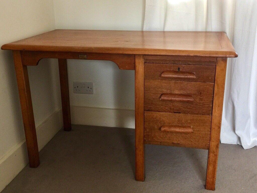 Vintage 3 Drawer Solid Wood Writing Desk