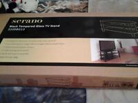 brand new in box black and glass tv stand