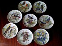 Set of eight decrative bird plates. WWF