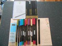 Water colour pencils- papermania watercolour markers- blender pens
