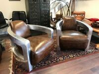 Superb Pair Of Tan Leather & Polished Aluminium Armchairs. Open To Offers.