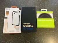 Samsung galaxy S7 edge on O2 with wireless charger and case