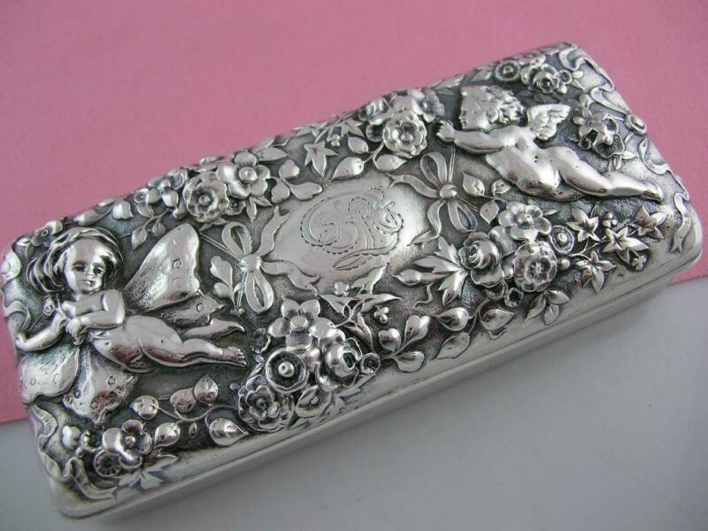 Rare Sterling GORHAM Box ~ floral repousse w/ angel cherub & fairy ornate