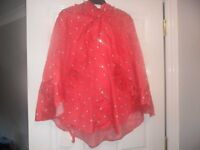 poncho in a bag £3 red with boat print bnwt see des - pick up or drop locally only