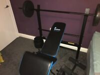 Gym bench + weights and bars