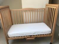 Side Cot/ cot Bed+ Mothercare mattress