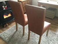 Brown Leather look dining room chairs x3