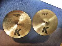 """Zildjian K Custom 14"""" Hi Hats (Hi Hat Cymbals) Top & Bottom"""