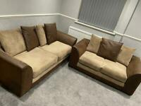 Brown and beige 3&2 seater sofas in very good condition
