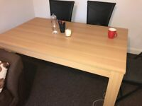 Oak Dining Table - Seats 6 People Comfortably - Excellent Condition - QUICK SALE NEEDED