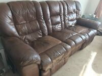 leather electric recliner 3 piece suite, 1/2/3 seaters