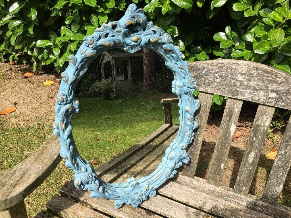Hand painted rocco style mirror in Aubusson blue & Louis blue