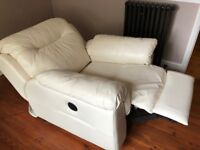 Two Leather Fully Reclining Chairs - Fully Electric. White.