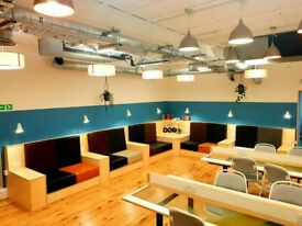 Bespoke hot desks, shared space, private studios, high ceilings, lots of light