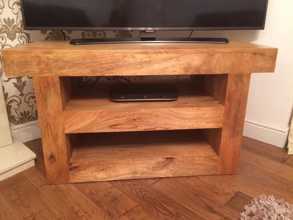 TV Unit/Stand Natural Solid Mango Wood