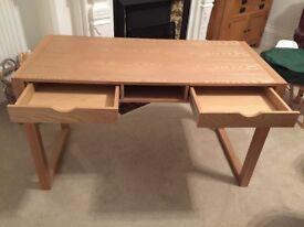 John Lewis light oak colour two drawer desk