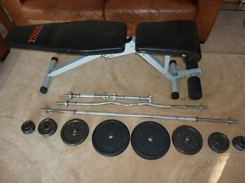 Adjustable Bench and freeweights