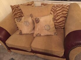 Two seater settee, armchair and foot stool for sale