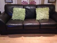 Brown leather sofas one three seater one two seater