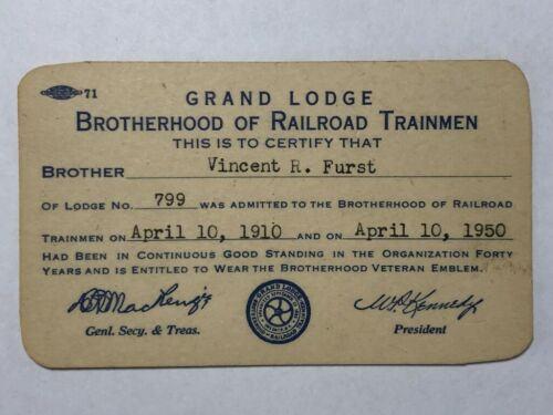 1950 FORTY YEAR Brotherhood of RAILROAD TRAINMEN Card Vintage Original