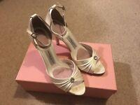 Filippa Scott ivory satin and diamanté bridal shoes
