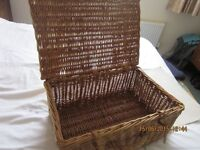 Strong genuine hand made willow picnic basket - suitable for storage and display