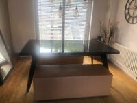 Glass top table and faux leather benches