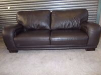 Dark Brown Leather 3-seater Sofa (Suite) with matching Armchair