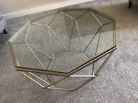Gold frame glass top coffee table