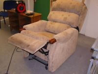 Electric Rise and Recline Mobility Chair in Brown Fabric. Very Good