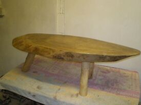 Rustic Elm topped table on 3 natural ash legs