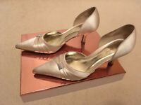 Size 3.5/ 36 Cream Satin, mid heel NEXT shoes, worn once